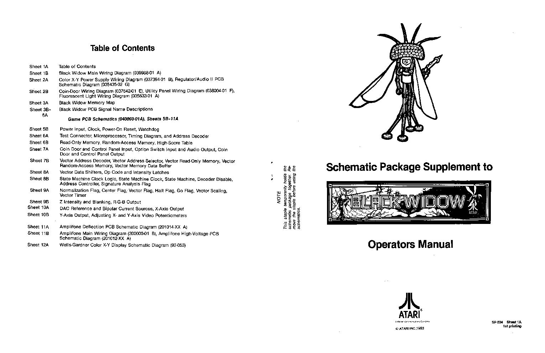 Atari Black Widow Sp 234 Service Manual Download Schematics Eeprom Wiring Diagram 1st Page