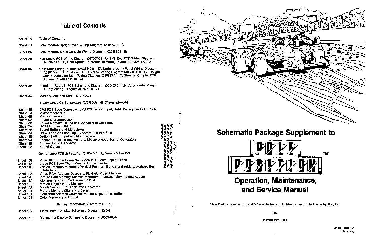 ATARI POLE-POSITION SP-218 5TH service manual (1st page)