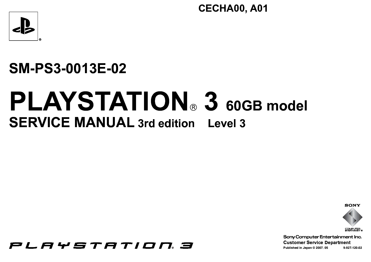 sony playstation 3 cecha00 cecha01 sm ps3 0013e 02 service manual rh elektrotanya com Sony PS2 Sony PS2