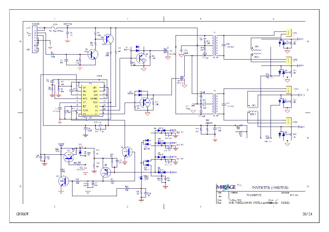 MIRAGE PI-170DTLA 190DTLB POWER Service Manual download, schematics