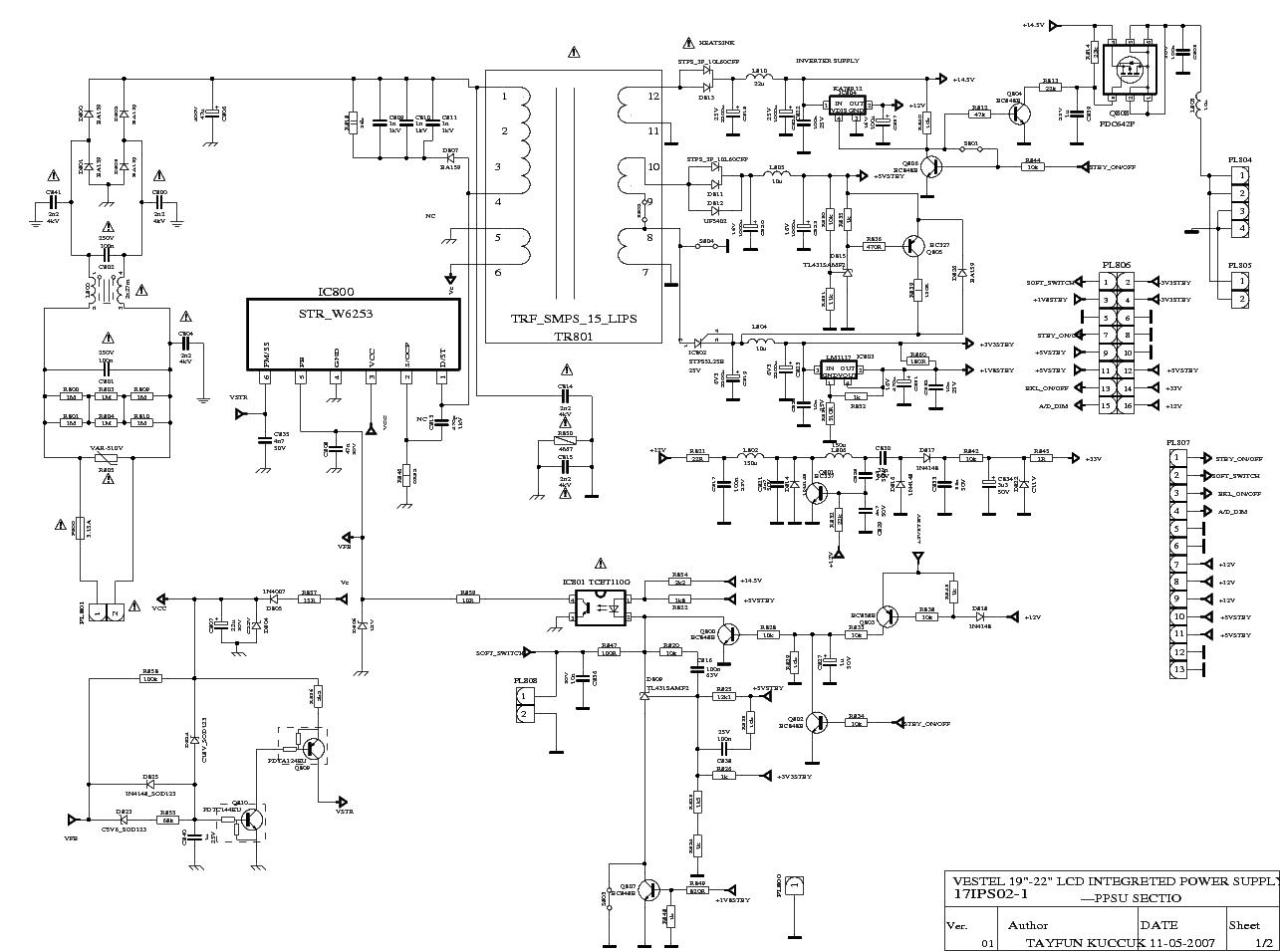Vestel Fan7311 17ips02 19 22 Inch Inverter Service Manual