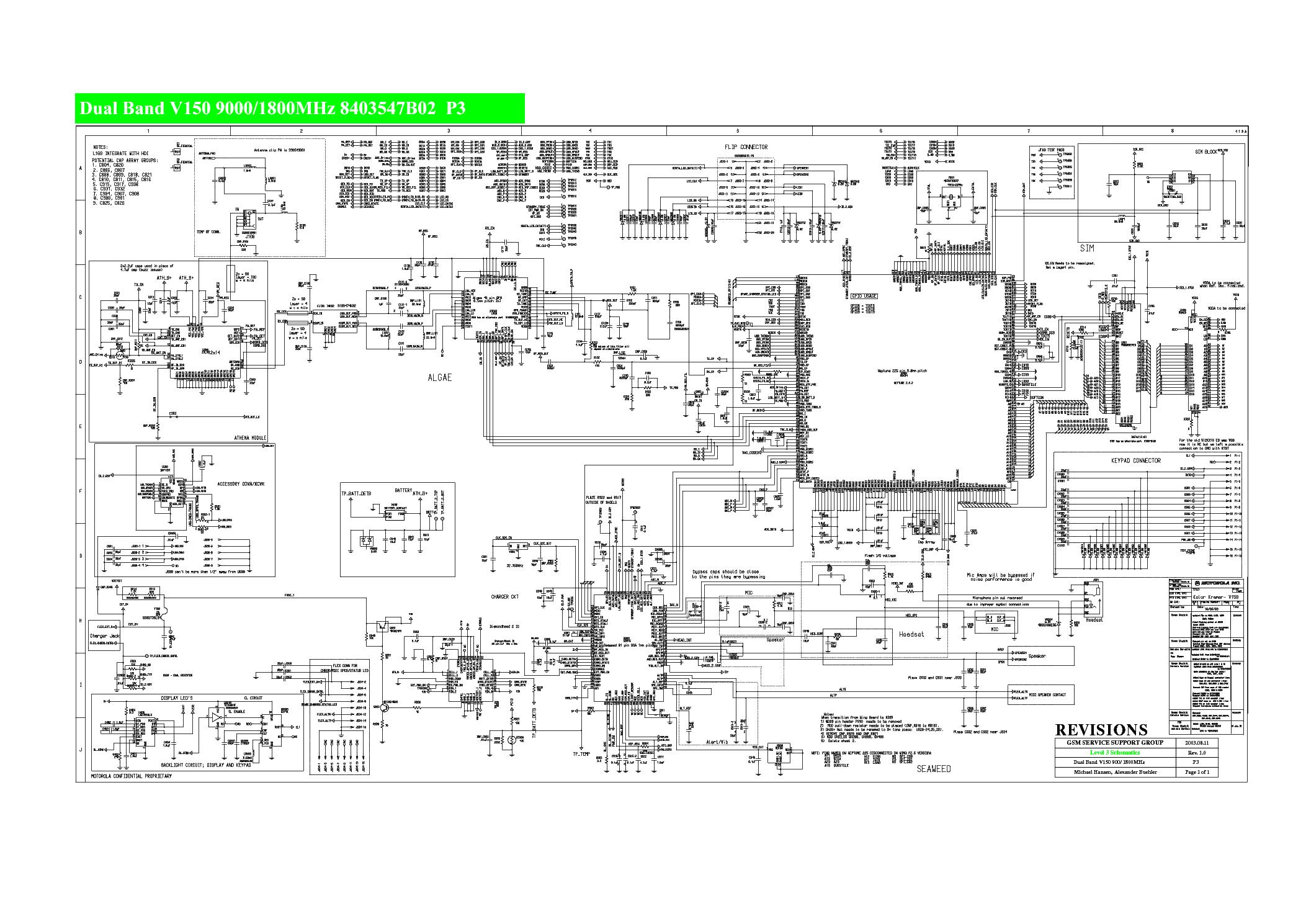 MOTOROLA V150 SCH service manual (1st page)