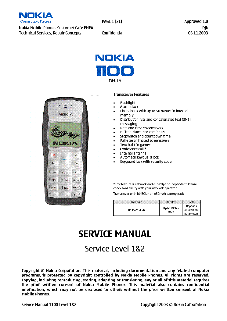 NOKIA 1100 LEVEL1 2 SM Service Manual download schematics eeprom