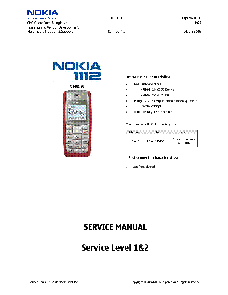 Nokia 1112 User's Manual Download & Preview