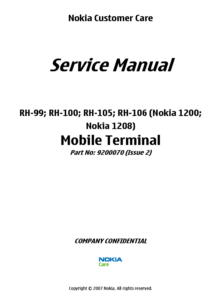 nokia 1200 1208 rh 99 rh 100 rh 106 sm service manual download rh elektrotanya com Nokia 1280 Nokia 1280