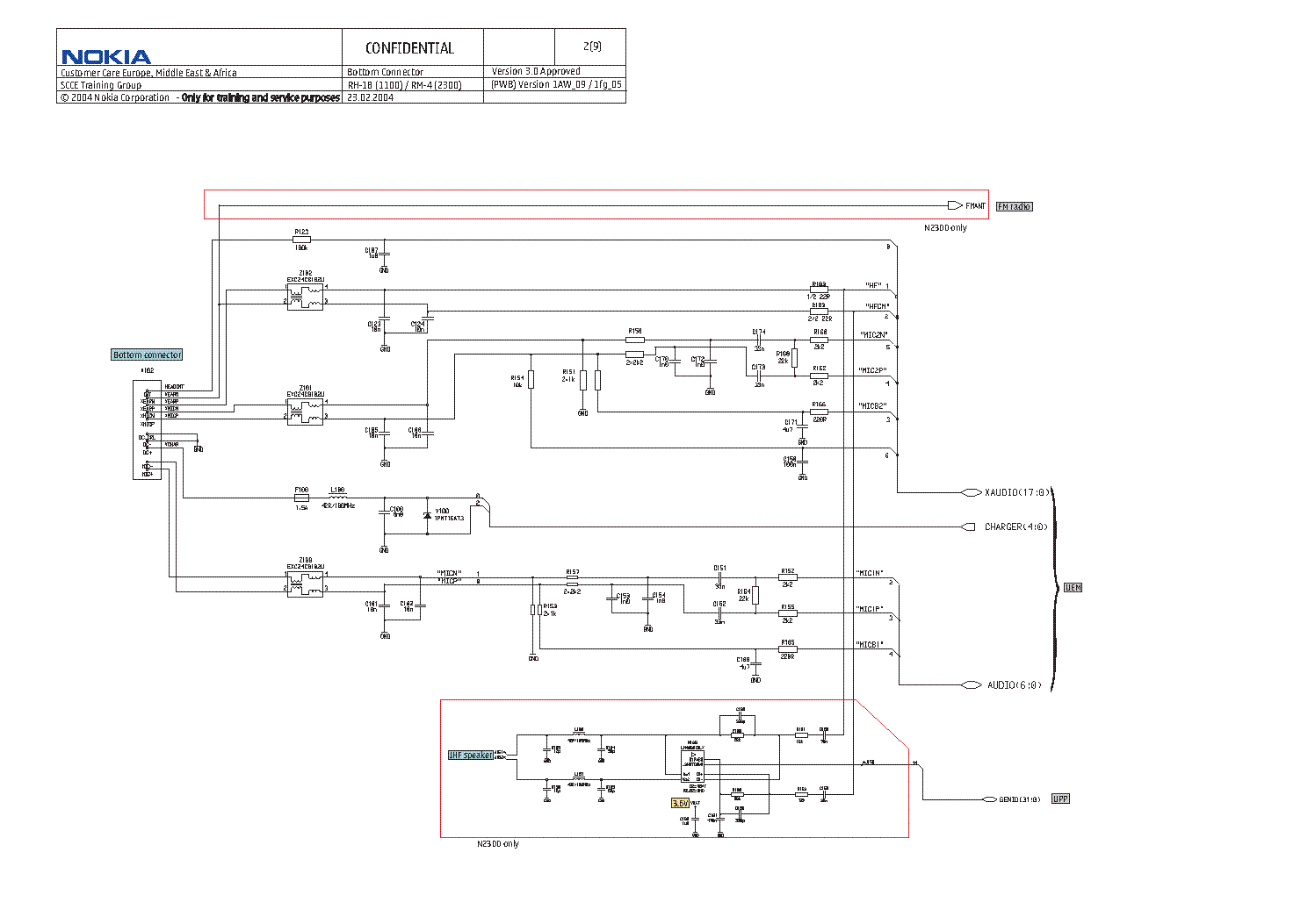 nokia_2300-1100-full-circuit.pdf_2 Nokia Schematic on diver mode, ear spkrsply, key features, tracfone phones, basic phones, girl holding, speaker ways, mobile phone motherboerd,
