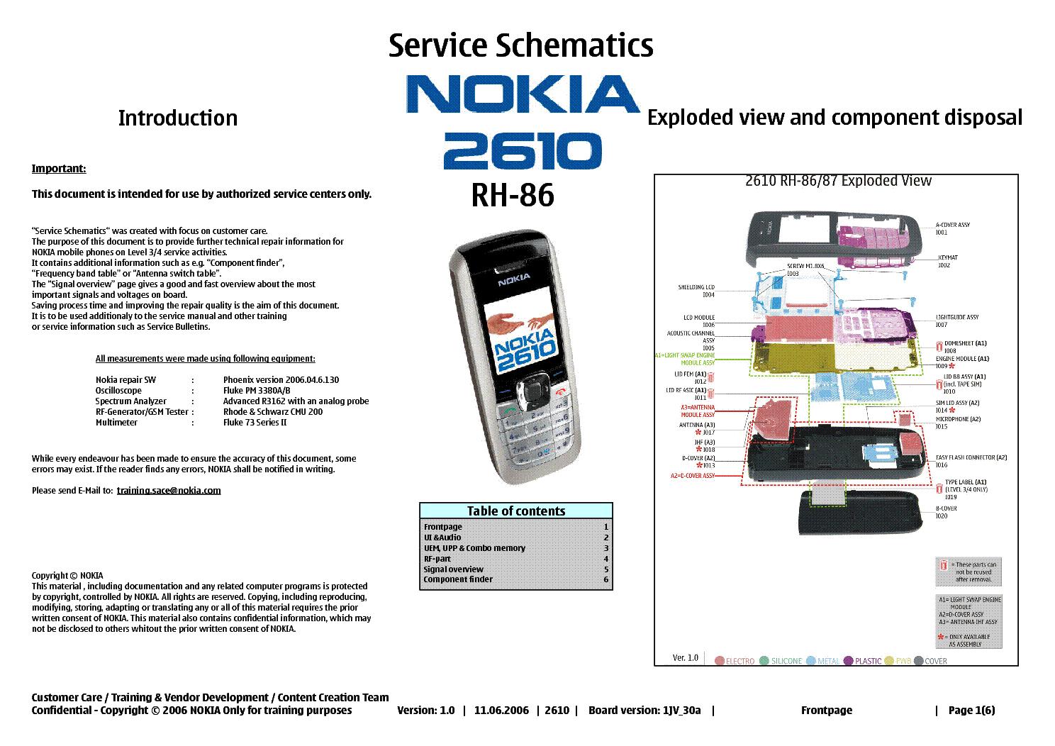 nokia 2610 rh86 service schematics service manual download rh elektrotanya com  nokia 2610 repair manual