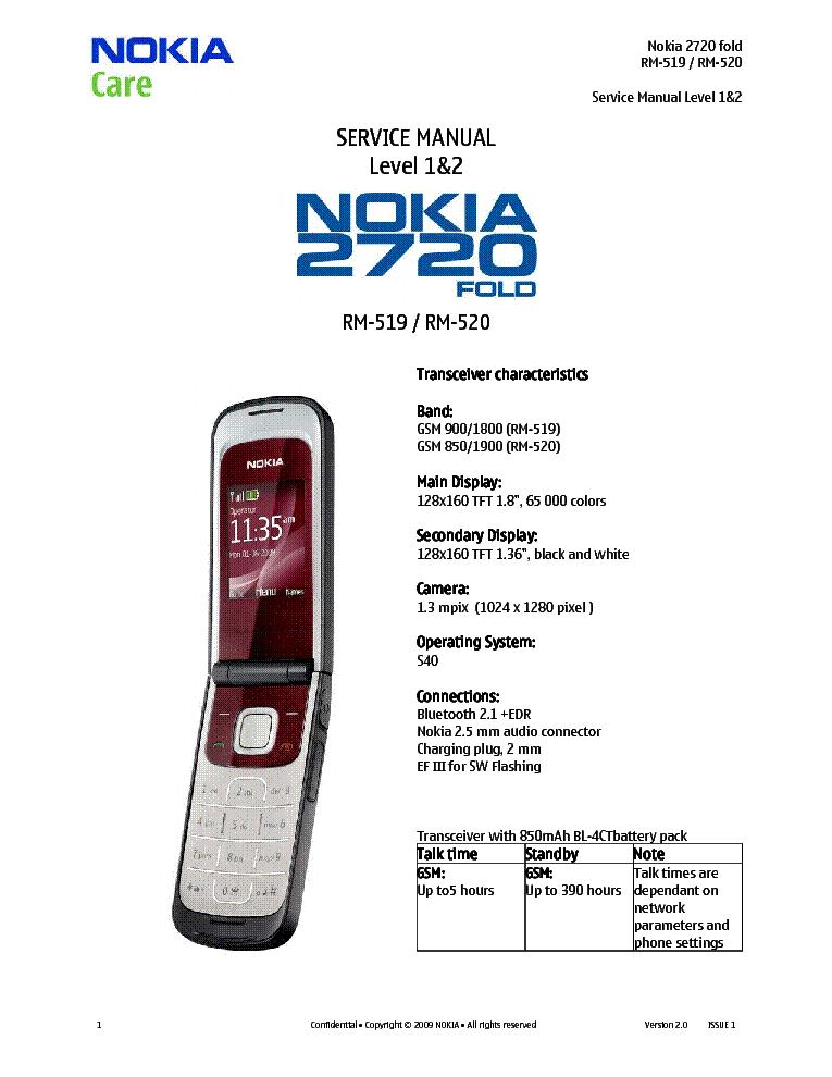 nokia 2720fold rm 519 520 l1 2 ver 2 0 sm service manual Nokia E75 Nokia E66