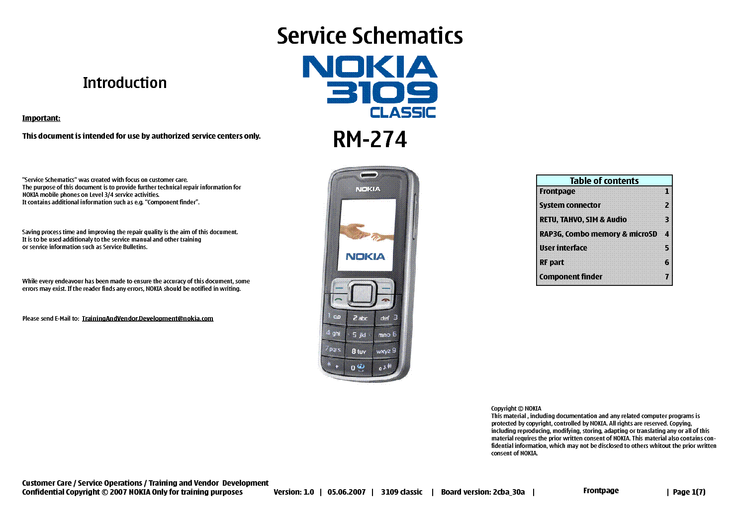 NOKIA 3109 RM-274 SCHEMATICS service manual (1st page)