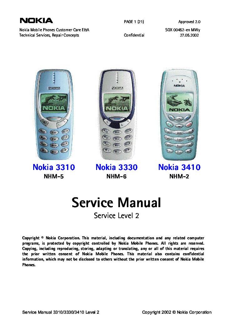 Nokia 3310 3330 3410 Nhm256 Sm Service Manual Download