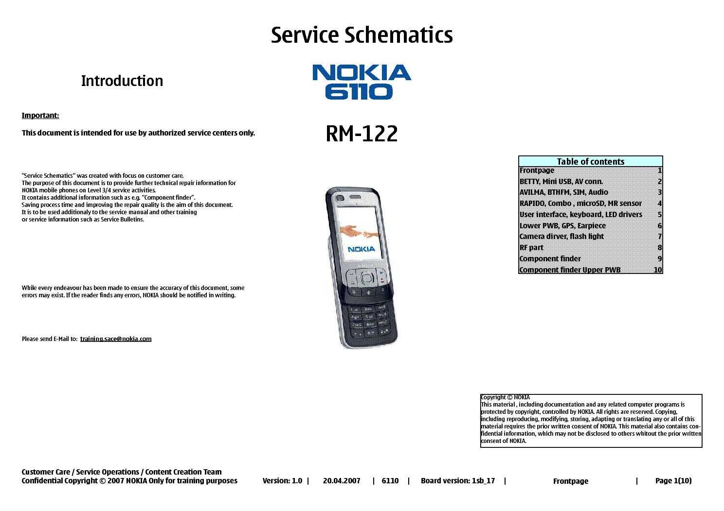 nokia 6110 rm 122 service schematics service manual download rh elektrotanya com Nokia 5110 Nokia 6210