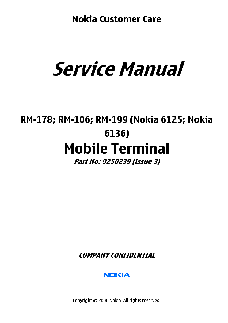 NOKIA 6125-6136 RM-178 106 199 SERVICE MANUAL L34 service manual