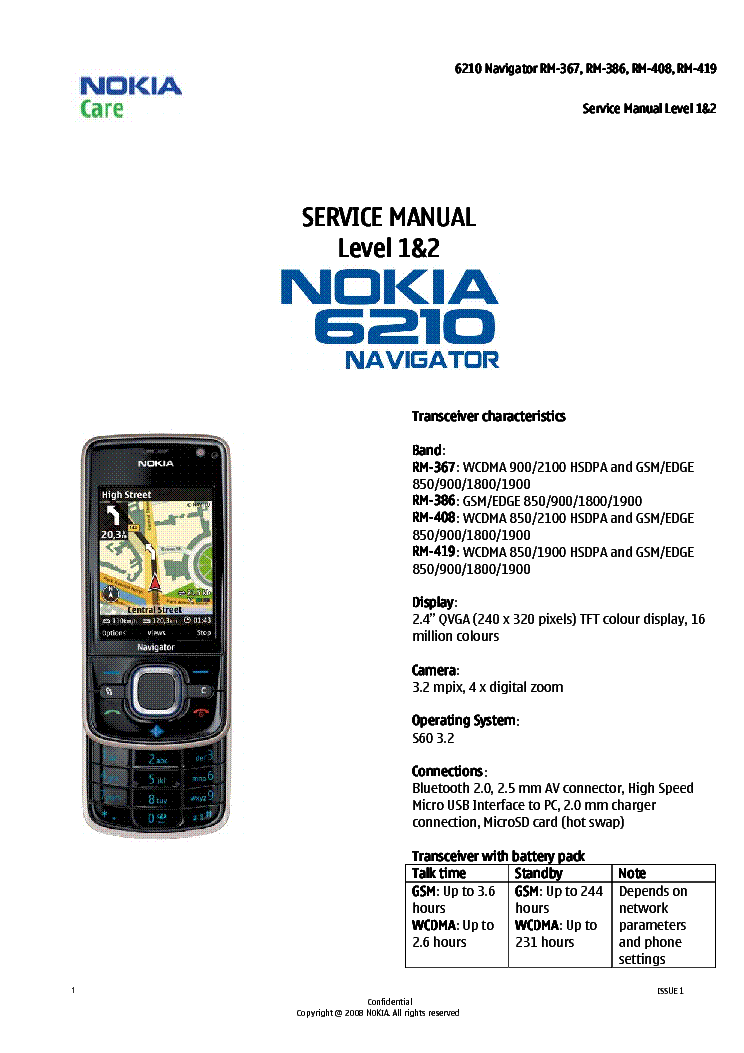 NOKIA 6210 NAVIGATOR RM-367 368 408 419 LEVEL-1 2 SM service manual