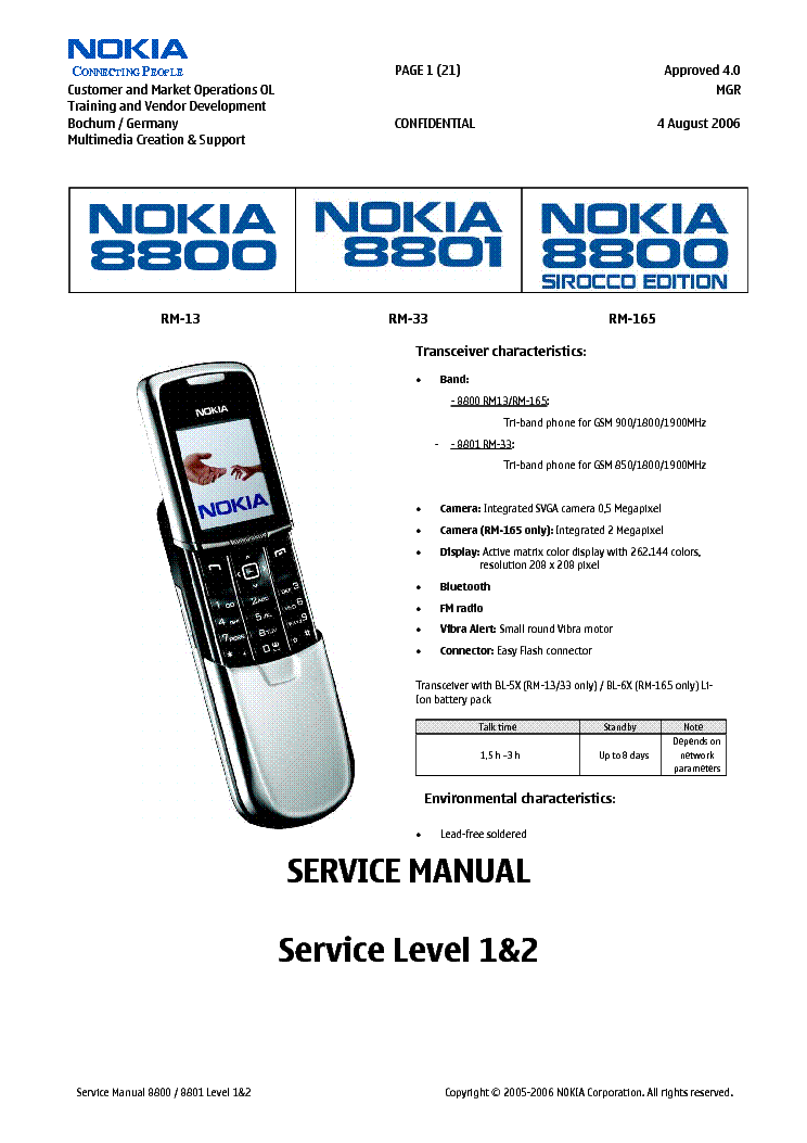 Nokia 8800 Руководство Пользователя
