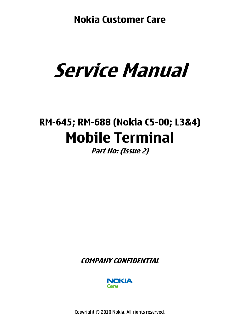 NOKIA C5-00 RM-645 RM-688 L34 service manual (1st page)