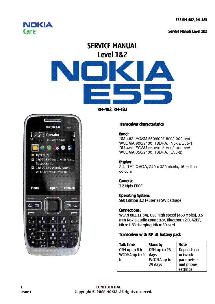 Service manual Nokia E55 level 1&2.