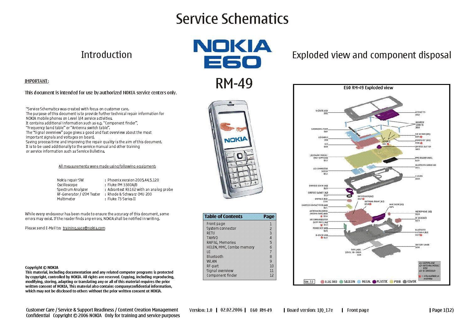 NOKIA E60 RM-49 V1 Service Manual download, schematics