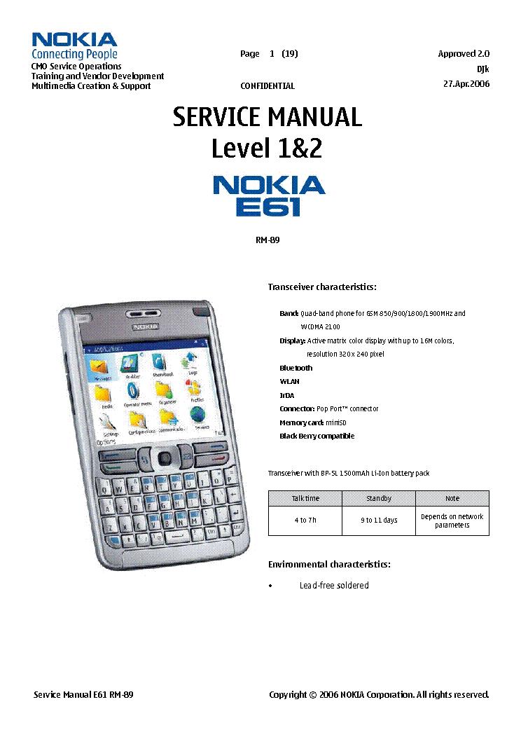 nokia e61 rm 89 l12 service manual download schematics eeprom rh elektrotanya com nokia e61 user manual nokia e61 user manual