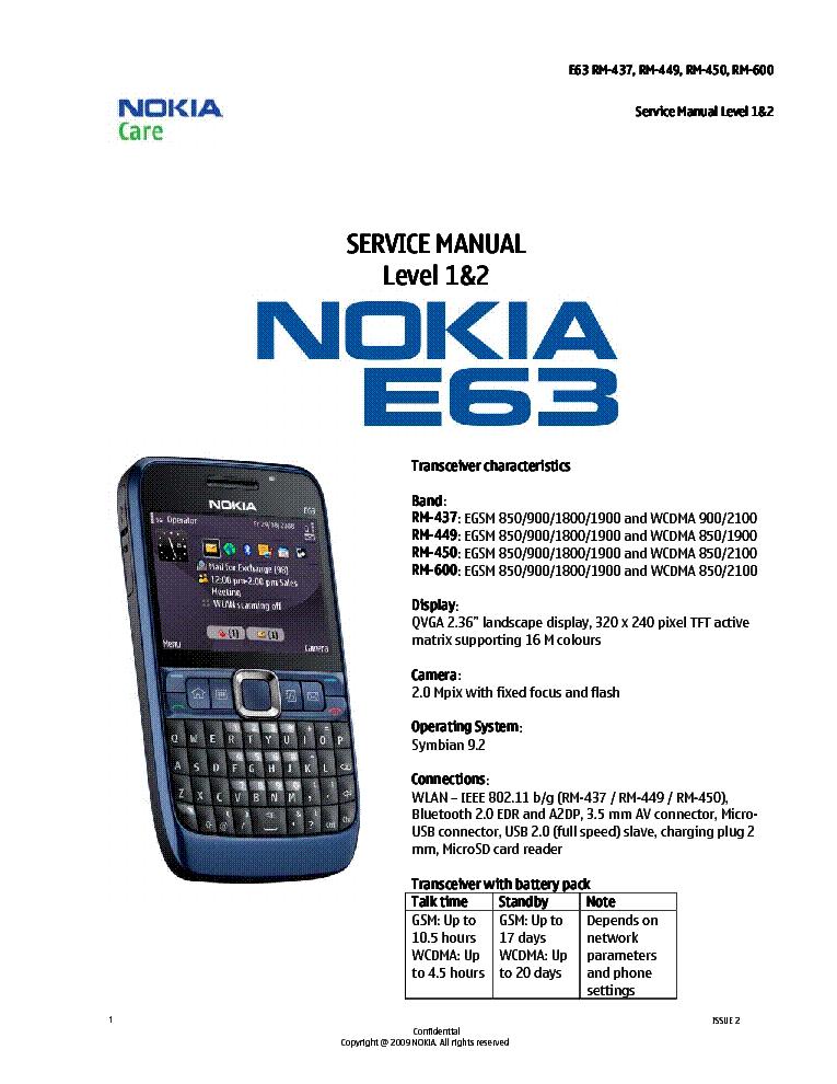 NOKIA E63 RM-437 RM-449 RM-450 RM-600 L12 Service Manual