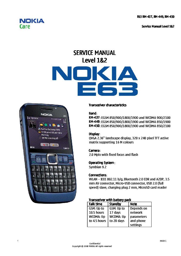 NOKIA E63 RM-437 RM-449 RM-450 SM L1 L2 V 1 0 Service Manual