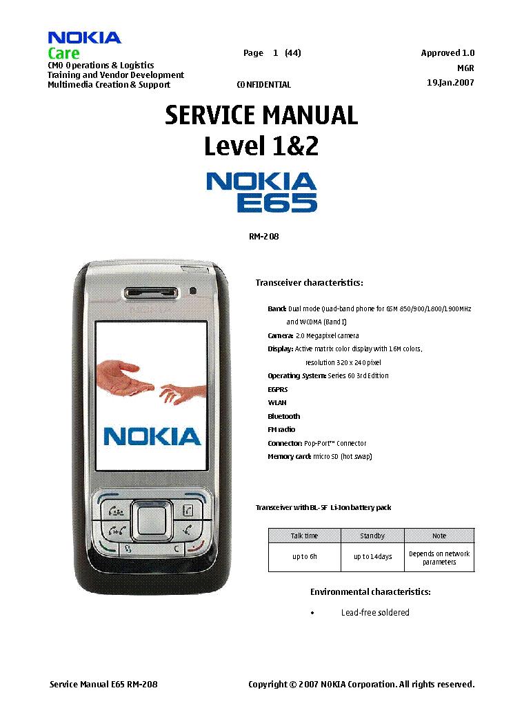 nokia e65 level 1 and 2 service manual download schematics eeprom rh elektrotanya com Nokia E67 nokia e65 manual
