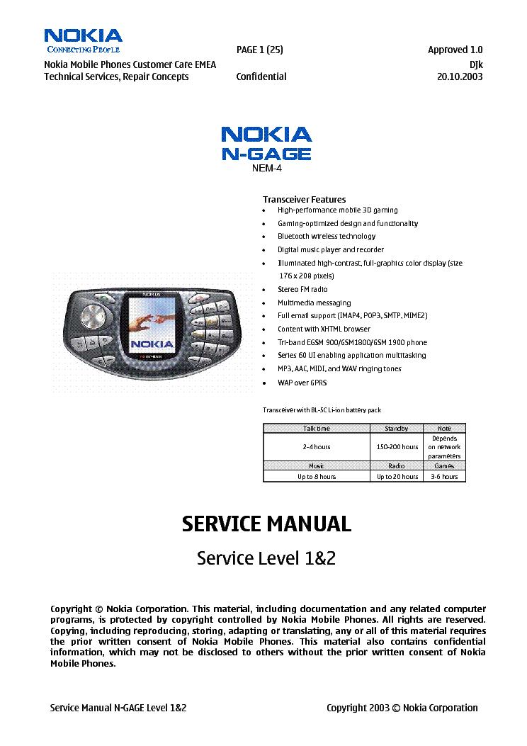 nokia n gage nem 4 l12 service manual download schematics eeprom rh elektrotanya com Nokia N97 Nokia N80