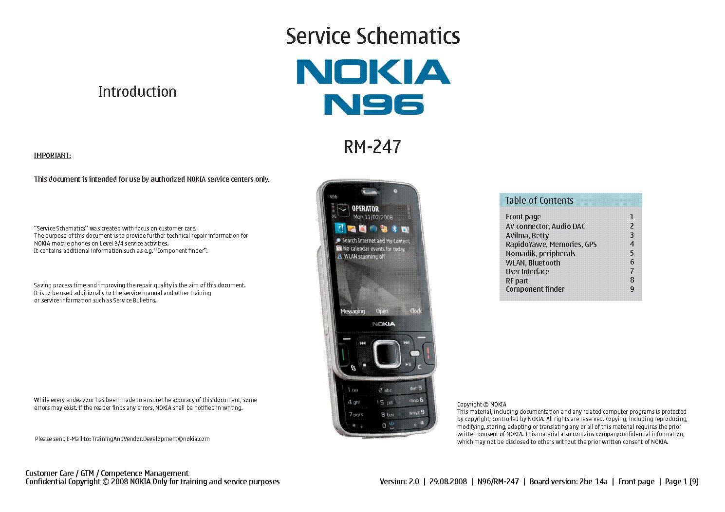 Nokia n96 sch service manual download, schematics, eeprom, repair.
