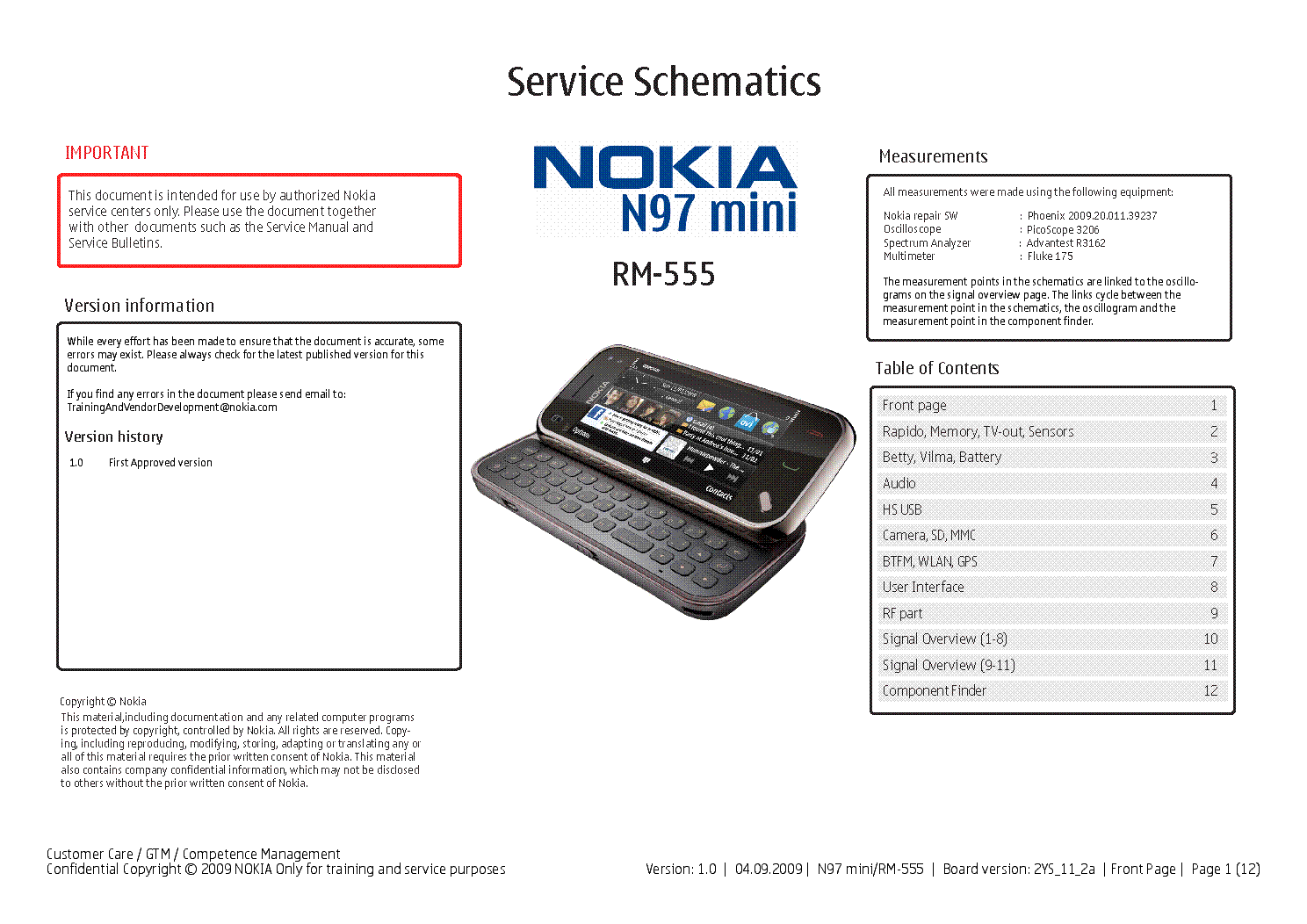 NOKIA N97 MINI RM-555 SCH service manual (1st page)