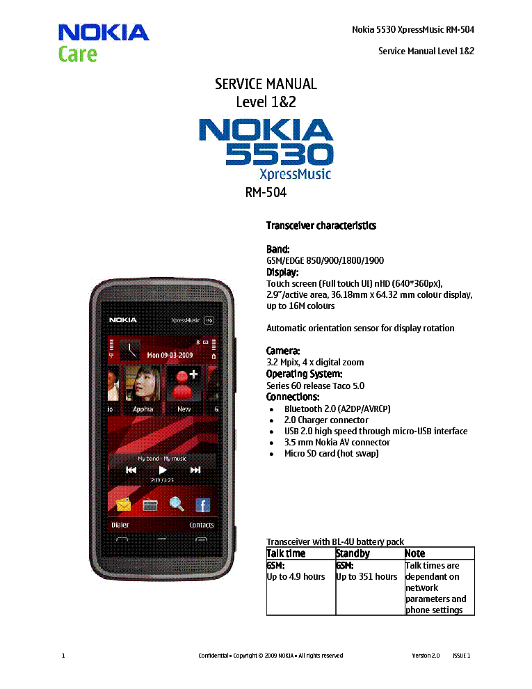 nokia rm xpressmusic ll ver. sm service manual free, schematic