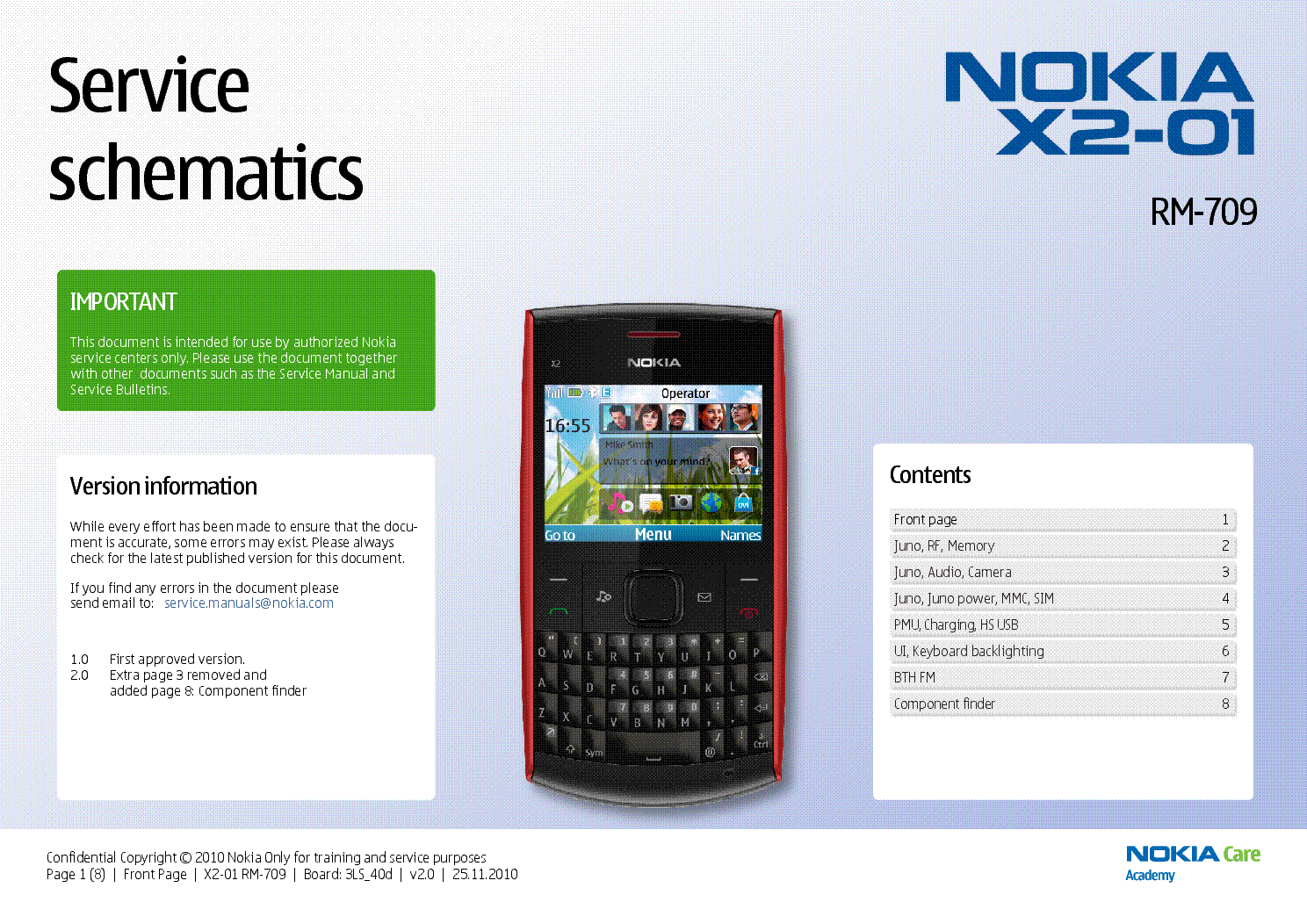 NOKIA X2-01 RM709 SCHEMATICS V2.0 service manual (1st page)