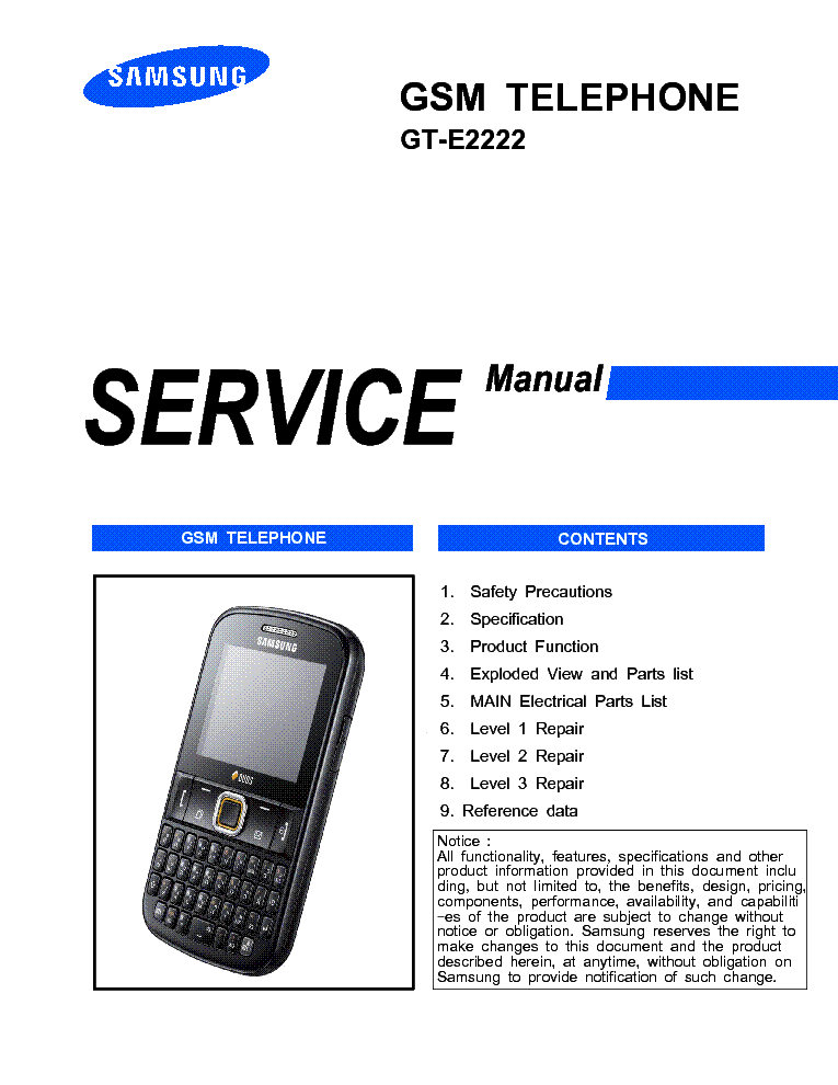 SAMSUNG GT-E2222 service manual