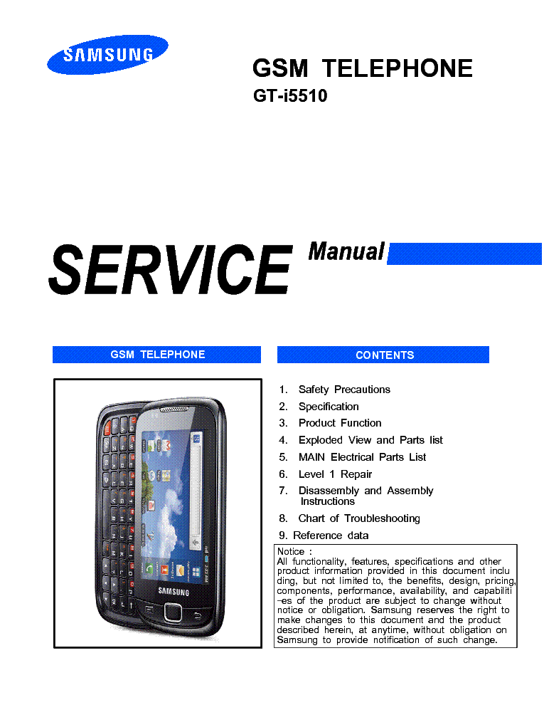 samsung gt i5510 galaxy 551 callisto service manual download rh elektrotanya com Samsung Refrigerator Repair Manual Samsung Owner's Manual