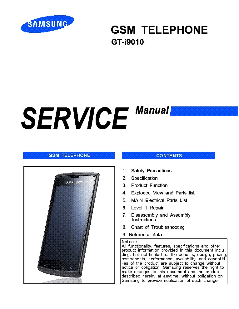 2018 shoes info for official store SAMSUNG GT-I9010 GALAXY S GIORGIO ARMANI SERVICE MANUAL ...