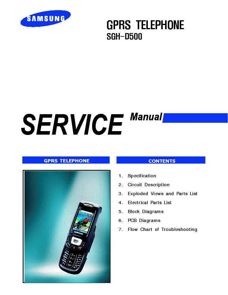 Схема сотового телефона Samsung SGH D500 Service manual.