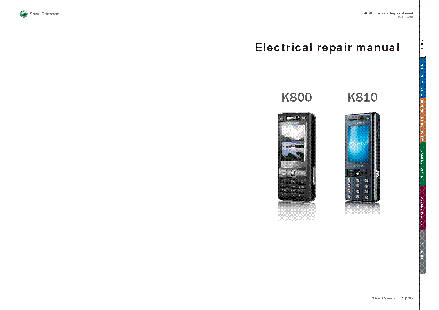 SONY ERICSSON K800 K810 ELECTRICAL REPAIR MANUAL Service Manual 1st Page