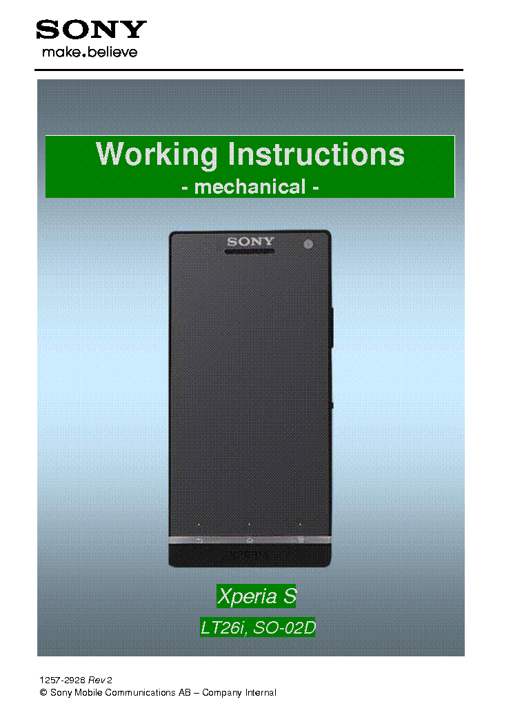 Sony Xperia S Lt26i Working Instructions Mechanical Service Manual