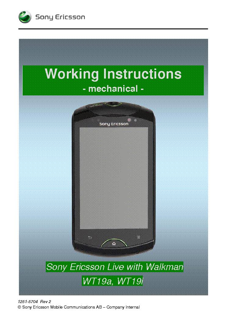 sonyericsson live with walkman wt19i working instructions mechanical rh elektrotanya com Sony Ericsson Xperia Play Sony Ericsson Walkman