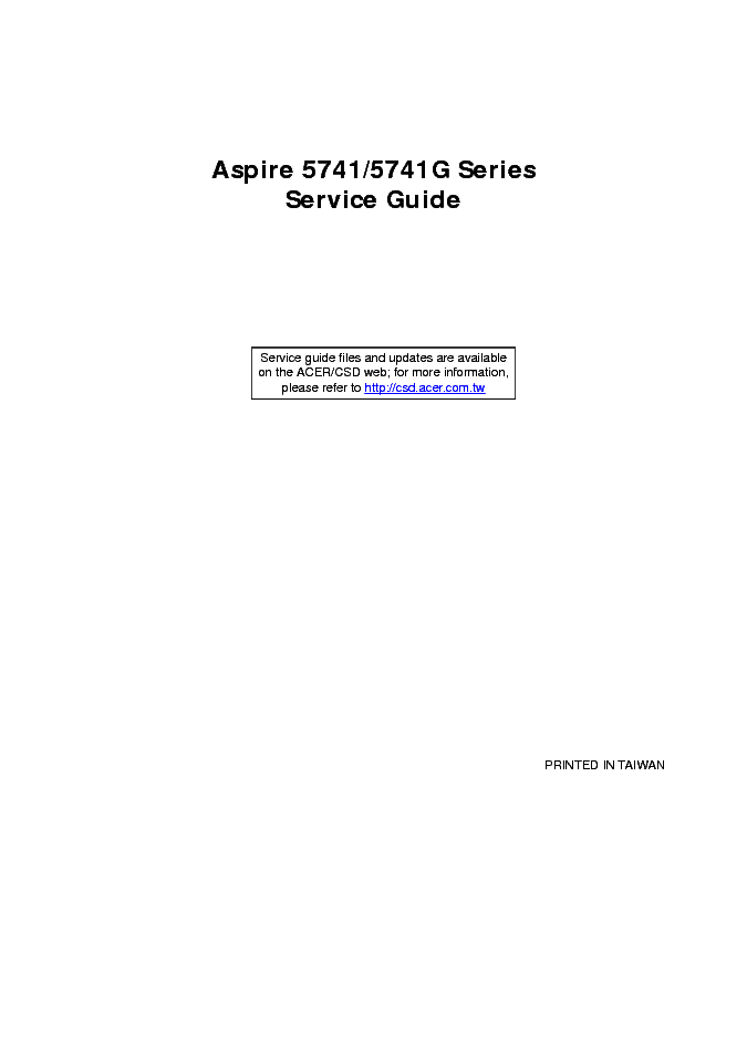 ACER ASPIRE 5741 5741G service manual