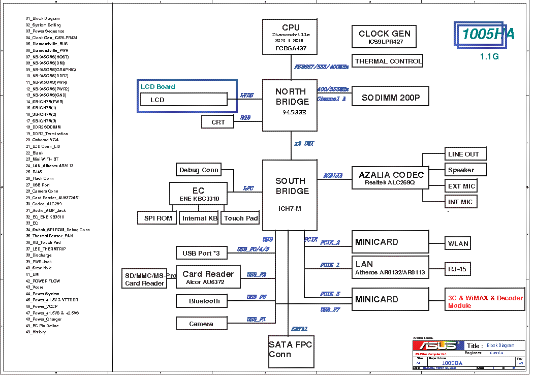 ASUS 1005HA REV 1.1G SCH
