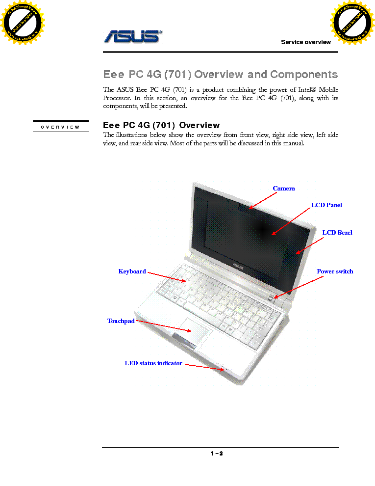 ASUS EEE PC 4G 701 SM service manual (2nd page)