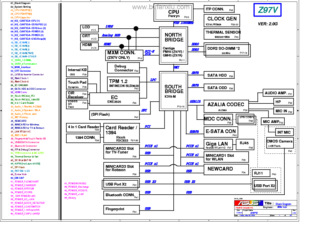Схема материнской платы ноутбука Asus Z97V - rev 2.0G необходима для любого ремонта материнской платы.Схемы ноутбуков...