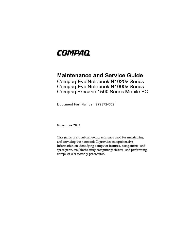Compaq Evo N1020v N1000v Presario 1500 Service Manual