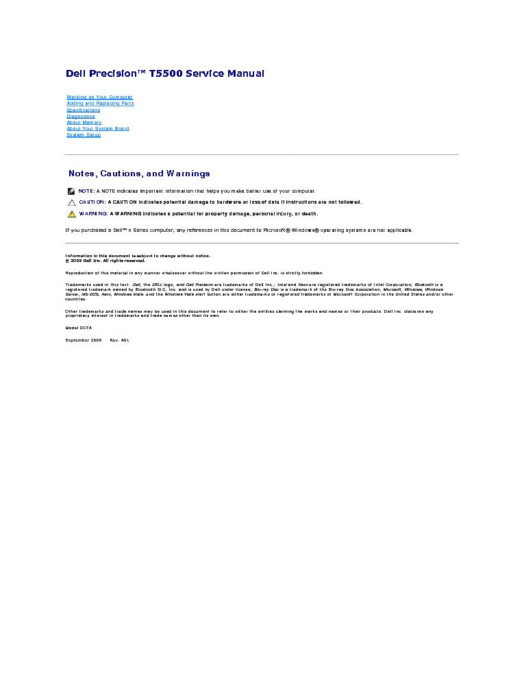DELL PRECISION T5500 SM Service Manual download, schematics