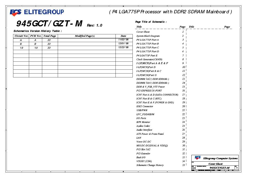 ECS 945GCT GZT-M REV 1.0 SCH