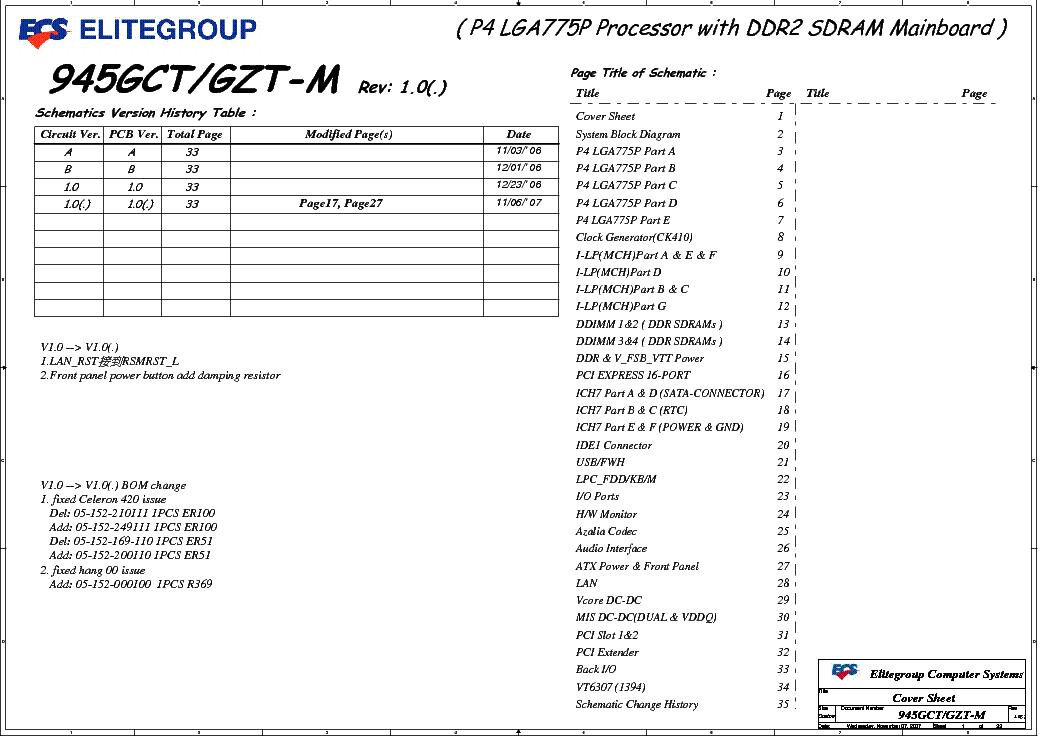 ECS 945GCT GZT-M REV 1.0X SCH