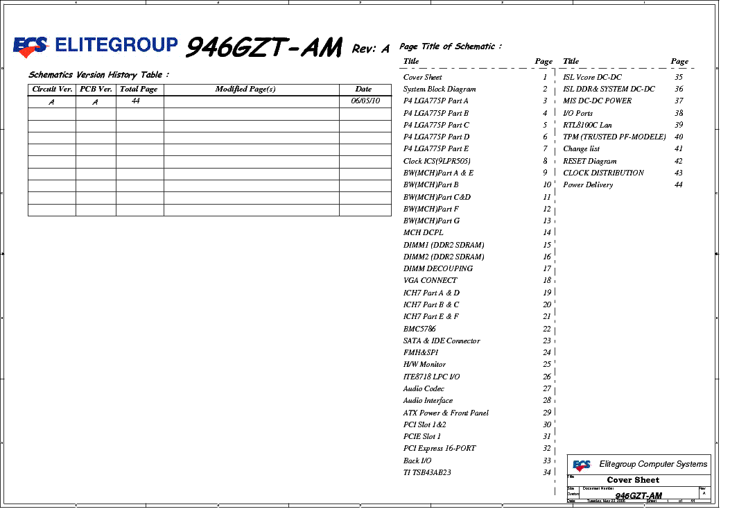 ECS 946GZT AM REV A SCH Service Manual 1st Page