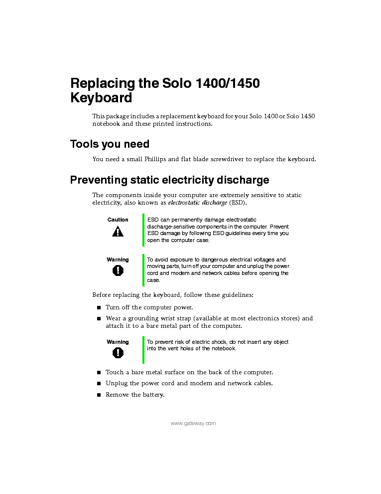 10 service manual -gateway solo 1450.