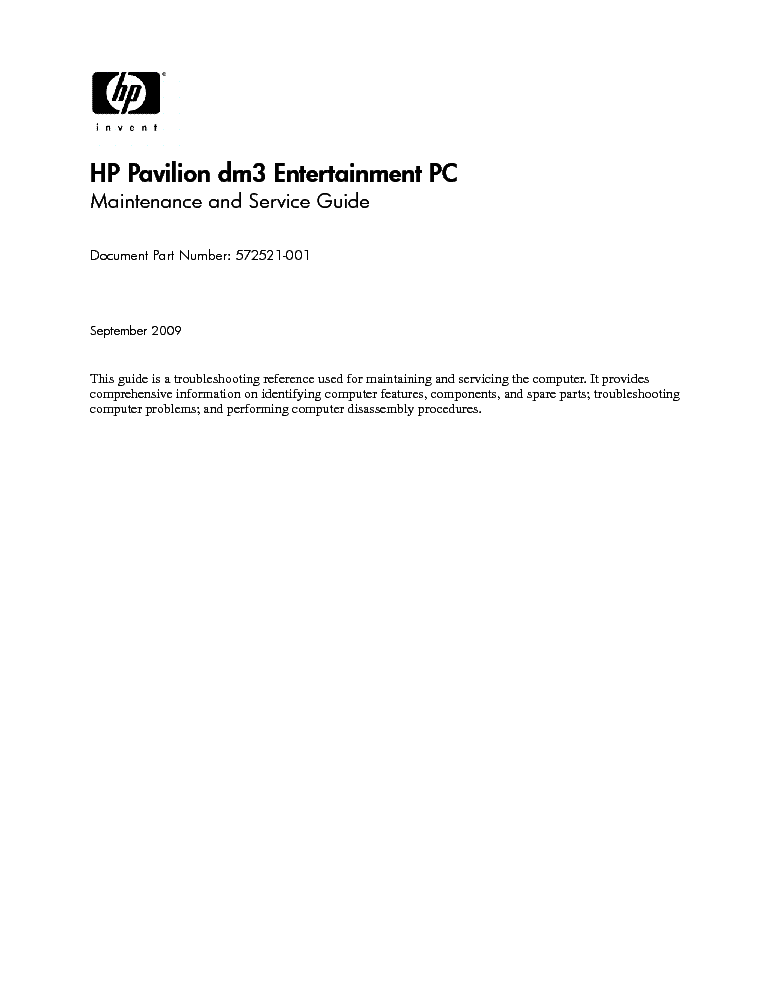 HP PAVILION DM3 service manual