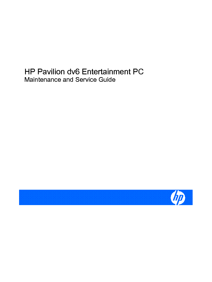 HP Pavilion DV6004 Maintenance And Service Manual