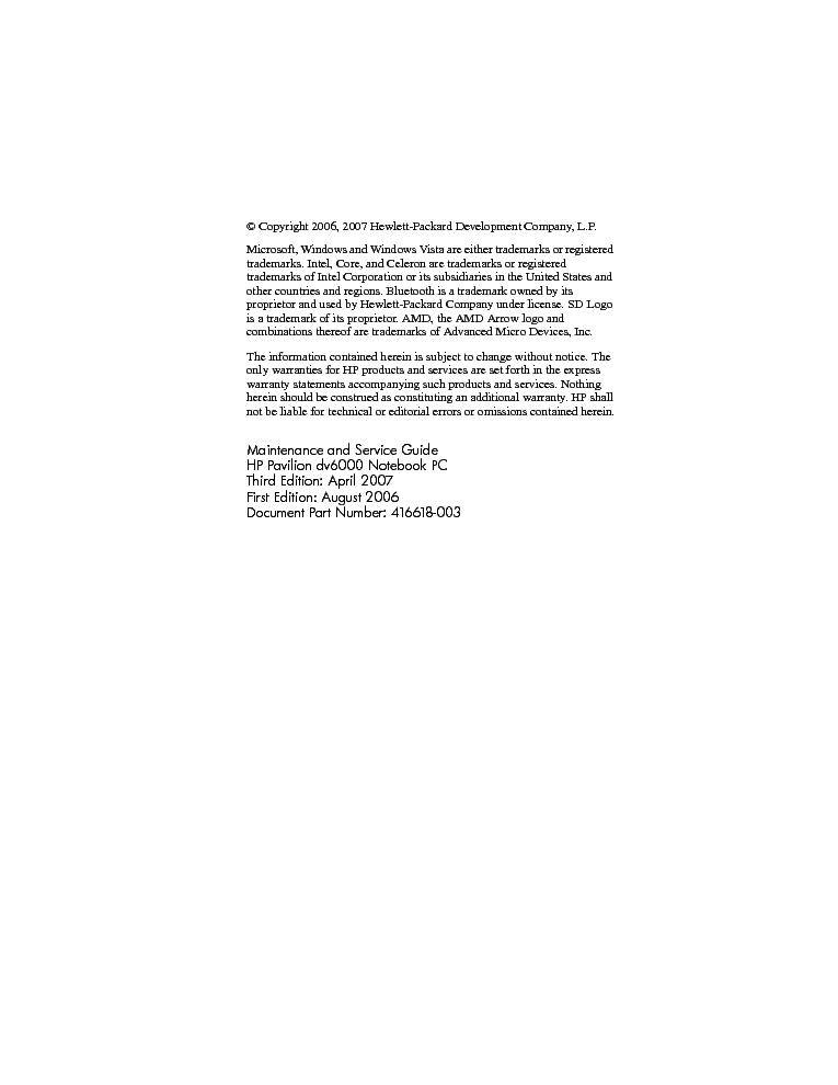 HP PAVILION DV6000 Service Manual download, schematics, eeprom